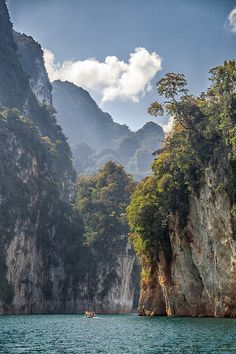 Was taken during a boat trip by Khao Sok Nation Park.  Khao Sok National Park in Southern Thailand is an amazing place. It is covered by the oldest evergreen rainforest in the world, huge limestone mountains shooting straight up in the air, deep valleys, breathtaking lakes, exciting caves, wild animals and much more.