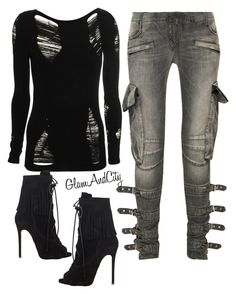 Untitled #113 by glamandcity on Polyvore featuring polyvore, fashion, style, Balmain and Giuseppe Zanotti