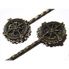 Steampunk Compass Brass Metal Lace Bobbi Bobby Pin Hair Accessory Barette Goth Retro Antique Style