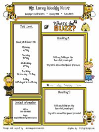 Busy Bees Template Classroom Newsletter @Meaghan Howard