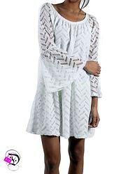 White Chevron Imprint Dress w Bell Sleeve $39.99 Divalicious
