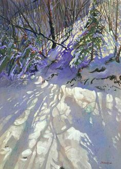 snow watercolor paintings | Cedar and snow | watercolor.....