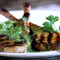 Lamb Chops with Cilantro Mint Sauce Recipe from Leite´s Culinaria ― Fresh ginger, mint, cilantro and honey make for a tender and flavorful chop. Found at www.edamam.com.