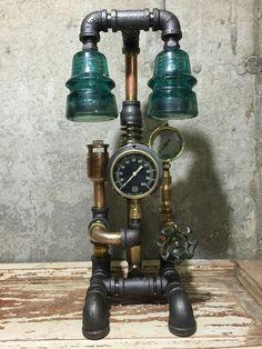 Steampunk Lamp, Vintage Brass and Copper Parts, Industrial, Brass Pressure Gauge