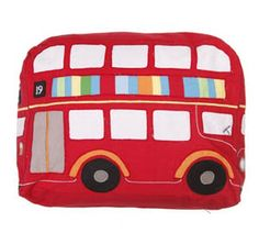 Children's London Bus Cushion. Bright and modern red No 19 London Bus will brighten up any child's room.