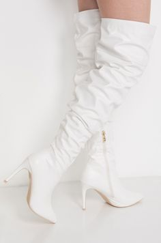 Side View Omg Over The Knee Heeled Boots in White Pu