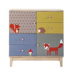 Kinderkommode aus Holz mit 2 Türen und 4 Schubladen, B 86 cm, bunt Forest