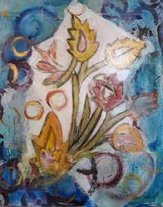 Moroccan Floral  Suite of 4 Mixed Media Paintings by Marti Schmidt