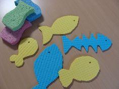 poissons en lavettes découpées, jeux d'eau