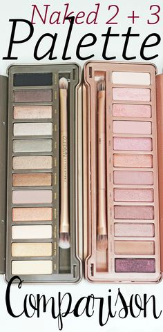 Back-to-back photo comparison of Urban Decay Naked 2 + 3 Palettes!