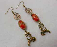 Christmas Magic Earrings Reindeer Earrings by UniversalCharm, $14.00