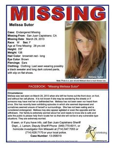 SAD UPDATE - APRIL 1, 2013: Melissa Rae Sutor was found dead, according to the sheriff's department, which labeled her death a suicide.