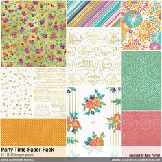 Party Time Paper Pack birthday designs and patterns for scrapbooking with gold and glam #designerdigitals
