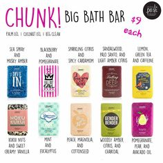 Chunk Bars are really big bars of soap. Use it once a day it last a really long time and leaves your skin feeling very soft. I also recommend cutting the bars in 1/2 so you can switch out scents more often!!
