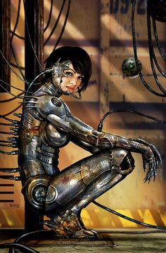 """Battle Angel: a painting inspired by Sorayama's """"Sexy Robots"""". Featured on the cover of Heavy Metal magazine's Nov issue."""