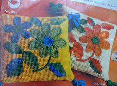 70's Mid-Century Modern Needlepoint Bernat Flower Pillow Kit