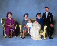 Family photo: Pictured from left, the Queen Mother, Queen Elizabeth II, Prince William, Prince Harry and the Prince and Princess of Wales after the christening ceremony of Prince Harry on December 21, 1984. The Queen is grandmother to eight and great-grandmother to five