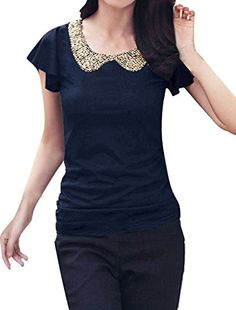 Allegra K Women Sequin Peter Pan Top Summer Slim Fit T Shirts Allegra K http://smile.amazon.com/dp/B00IU6302Q/ref=cm_sw_r_pi_dp_edXDwb129Z1B1