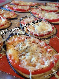 Aubergines façon pizzas Aubergine Pizza, Food Fantasy, Yummy Food, Tasty, Ravioli, Food Videos, Vegan Vegetarian, Food And Drink, Nutrition