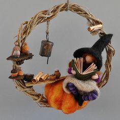 Items similar to Halloween Needle Felted Waldorf Wreath. Halloween Decoration on Etsy Halloween Doll, Halloween Crafts, Halloween Decorations, Halloween Wreaths, Halloween Nails, Halloween Costumes, Felt Crafts, Fabric Crafts, Diy Laine