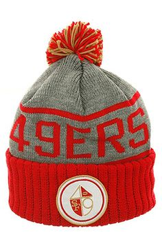 35ab47c9d86 Cap Central Beanie The Mitchell and Ness KJ48Z San Francisco 49ers Knit in  Heather Grey