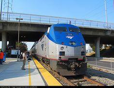 Amtrak P42DC #179 shoves an Eastbound Capitol Corridor out of Santa Clara on its way to Sacramento, CA.
