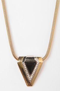 Vintage '70s DVF Lucite Crystal Pendant Necklace  #UrbanOutfitters