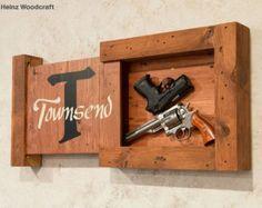 Reclaimed Hardwood Concealed Gun Storage, Gun Storage, Hidden Gun Storage, Monogram Family Name Sign Hidden Gun Storage, Secret Storage, Safe Storage, Storage Area, Ammo Storage, Kayak Storage, Diy Storage, Storage Organization, Woodworking Plans