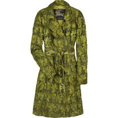 Burberry Prorsum Embroidered trench coat (¥568,385) ❤ liked on Polyvore featuring outerwear, coats, jackets, coats & jackets, burberry, floral trench coat, burberry coat, green coat, floral print trench coat and burberry trenchcoat