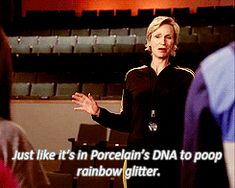 My all time fave sue quote Glee Season 3, Rachel And Finn, Glee Cory Monteith, Glee Memes, Jane Lynch, Glee Cast, Comedy Series, Best Tv Shows, Funny Moments