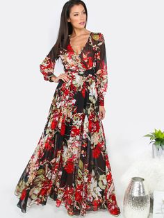 Floral+Long+Sleeve+Maxi+Dress+BLACK+34.20
