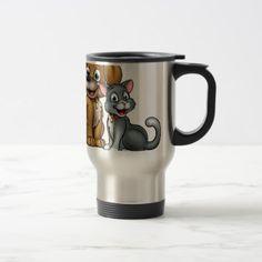 Cartoon Cat and Dog Pets Travel Mug - animal gift ideas animals and pets diy customize