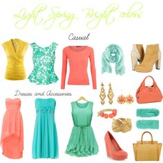 Great colors for light spring except the yellow. I don't really love the style of the clothing though Bright Spring, Clear Spring, Warm Spring, Spring Summer, Light Spring Palette, Spring Color Palette, Spring Colors, Colour Palettes, Seasonal Color Analysis