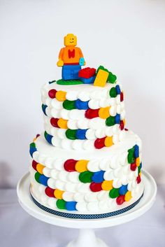 Cool cake at a modern Lego birthday party! See more party planning ideas at CatchMyParty.com!