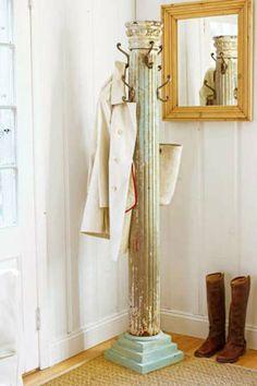 Space saving DIY coat rack made from a salvaged column.