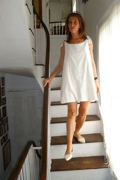 SHIFT. dress.long.A line.white. double layered linen mix. .   With jean capri's or bermuda shorts, or linen wide leg pants