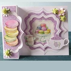 Fancy Handmade Playing cards Handmade card that includes macaroons Fancy Handmade Playing cards Tea Party Crafts, Ticket Card, Tattered Lace Cards, Pot A Crayon, Coffee Cards, Step Cards, Interactive Cards, Shaped Cards, Fancy Fold Cards