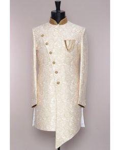 Offwhite Printed Tussar Silk Indowestern A Wedding Dress Men, Indian Wedding Outfits, Wedding Suits, Wedding Men, Bridal Outfits, Indian Men Fashion, Mens Fashion Wear, African Fashion, Mens Fashion Suits