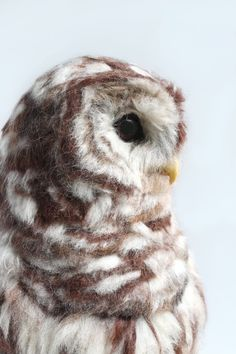 Large Barred Owl Sculpture Needle Felted Barred Owl