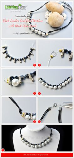 How to Make Black Leather Cord Pearl Necklace with Black Glass Beads from LC.Pandahall.com