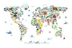 Animal Map of the World. To put on the wall of kids room