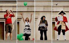 """The Fourth Plinth, Trafalgar Square London. One & Other, van Antony Gormley. Juli tot oktober 2009. Gedurende 100 dagen stonden 2400 burgers ieder één uur op de sokkel. Ze mochten doen wat ze wilden en meebrengen wat ze zelf, zonder hulp, naar boven konden dragen. Zo werd """"De gewone man"""" op een sokkel verheven."""