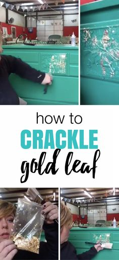 Adding gorgeous gold to drawers and carvings. Quick video on how to crackle gold leaf - Furniture Painting Tips + Painted Furniture Ideas by Allison Griffith of Refunk My Junk   Gold Leaf   Decorating drawers   Green Painted Dresser
