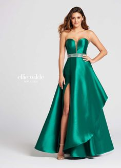 84e662389b1 Ellie Wilde EW118081 - Strapless Mikado A-line dress featuring plunging  sweetheart neckline with tonal
