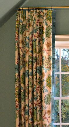 Blue and green floral drapery panel with blue ruffled edge. The 2013 Atlanta Homes Drapery Panels, Drapes Curtains, Curtain Trim, Floral Curtains, Valances, Le Ranch, Custom Kitchen Cabinets, Curtain Designs, Curtain Styles