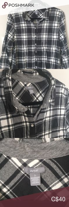 Black & white plaid flannel PJ set -Black/white/grey plaid soft flannel -Size L, fits M-L -Button down, long sleeve top  -Elastic waist jogger-style pant, 3/4 length (with pockets!)  Never worn! Great condition! Perfect for winter! aerie Intimates & Sleepwear Pajamas White Plaid, Black And White, Fashion Joggers, Pj Sets, Plaid Flannel, Long Sleeve Tops, Elastic Waist, Plus Fashion, Fashion Trends