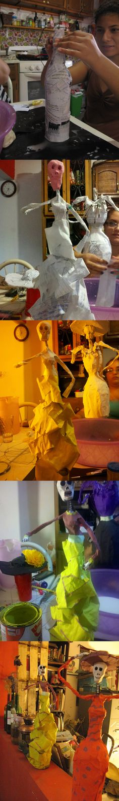 Catrinas de papel maché. Catrinas maché. Hechas sobre una base de botella de vino, corcho, masa modeladora. Usamos pinturas comunes (vinílicas, acuarela)