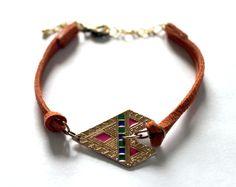 Tribal Orange and Gold Colorful Arrow Bracelet by EphemeralDesigns, $20.00