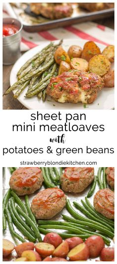 Sheet Pan Mini Meatloaves with Potatoes & Green Beans is the ultimate comfort food, cooked on one pan for easy cleanup. Now that's what I can a winner-winner, meatloaf dinner! | Strawberry Blondie Kit
