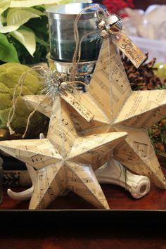 Sweet Something Designs: Sheet Music Star (Tutorial) use old book pages instead!
